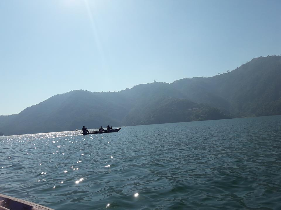 Boating In Fewa Lake Pokhara In Day Time Sun Light
