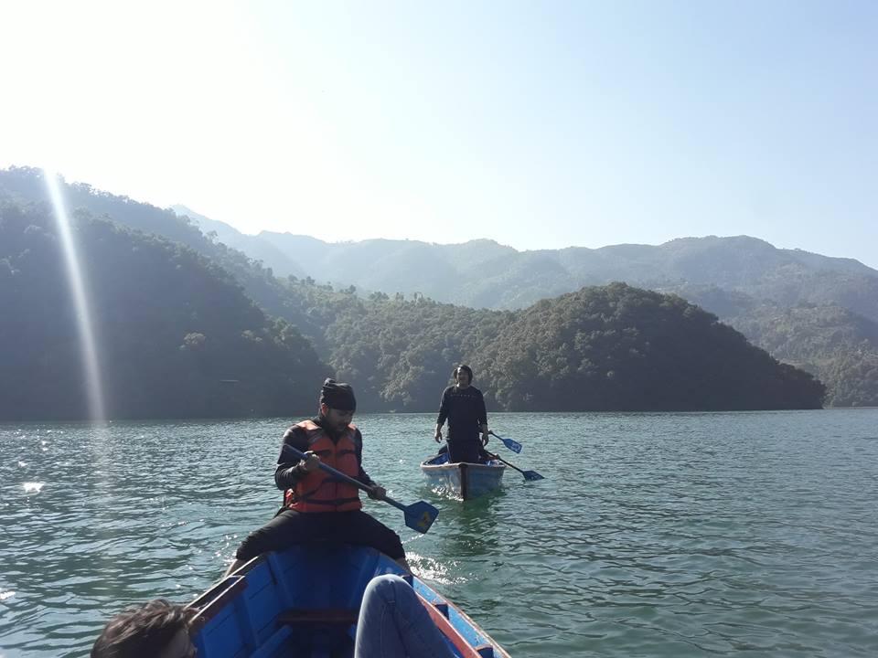 Travelers Boating In Fewa Lake