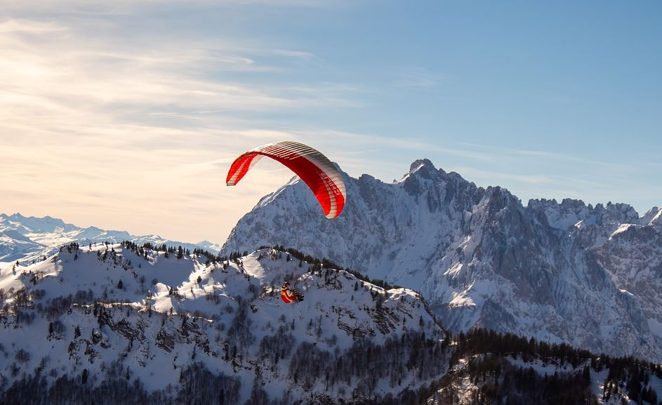 Man paragliding for an Adventure