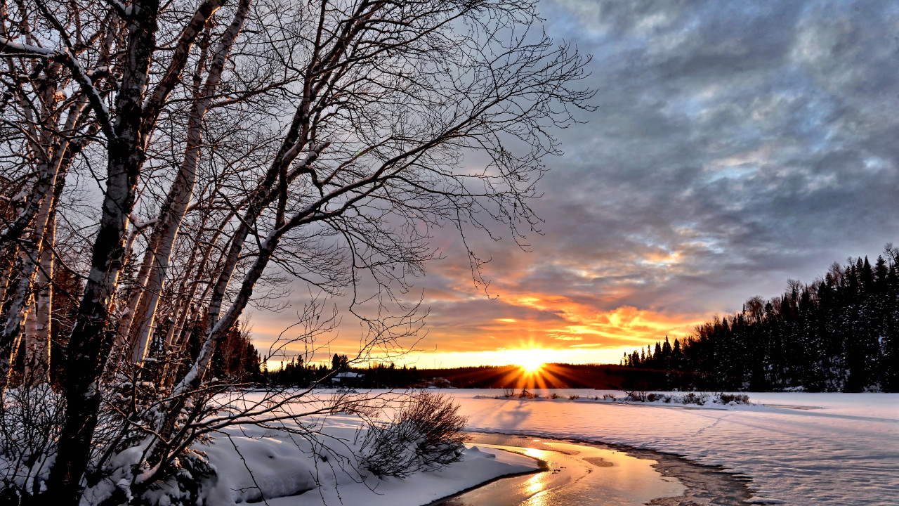 Sunset View In Winter