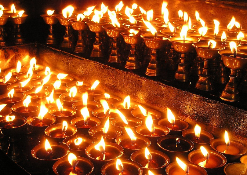 Candles On The Day Of Deepawali Festival In Nepal