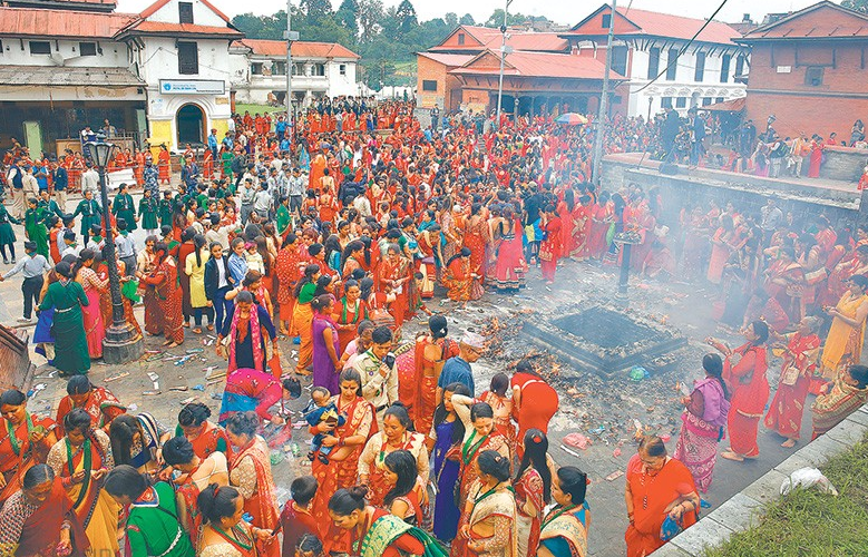 Womens in Pashupatinath Temple during Teej Festival