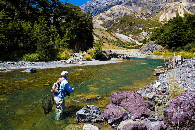 Man Fishing in Nelson River New Zealand