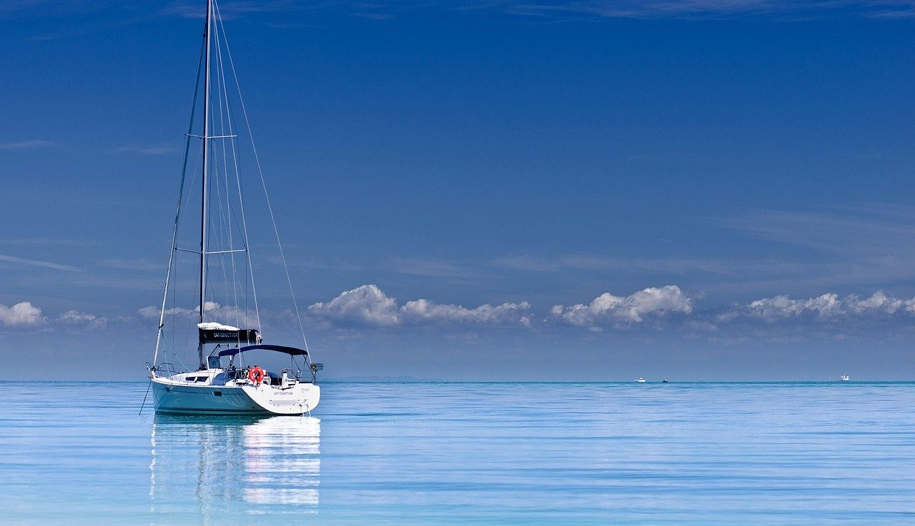 Yacht in the blue ocean