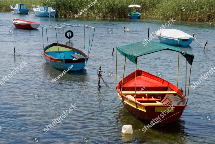 Boats on Lake Ohrid in Struga Macedonia