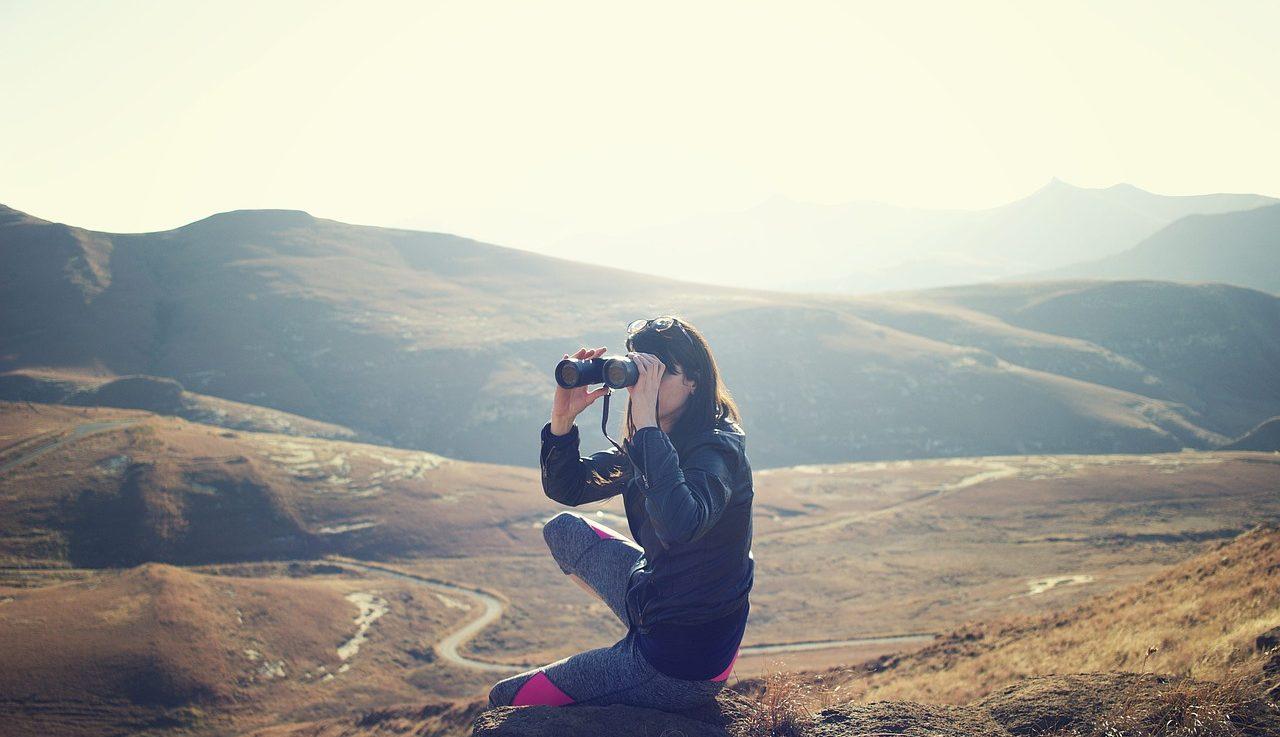 Adventure Girl with Binoculars