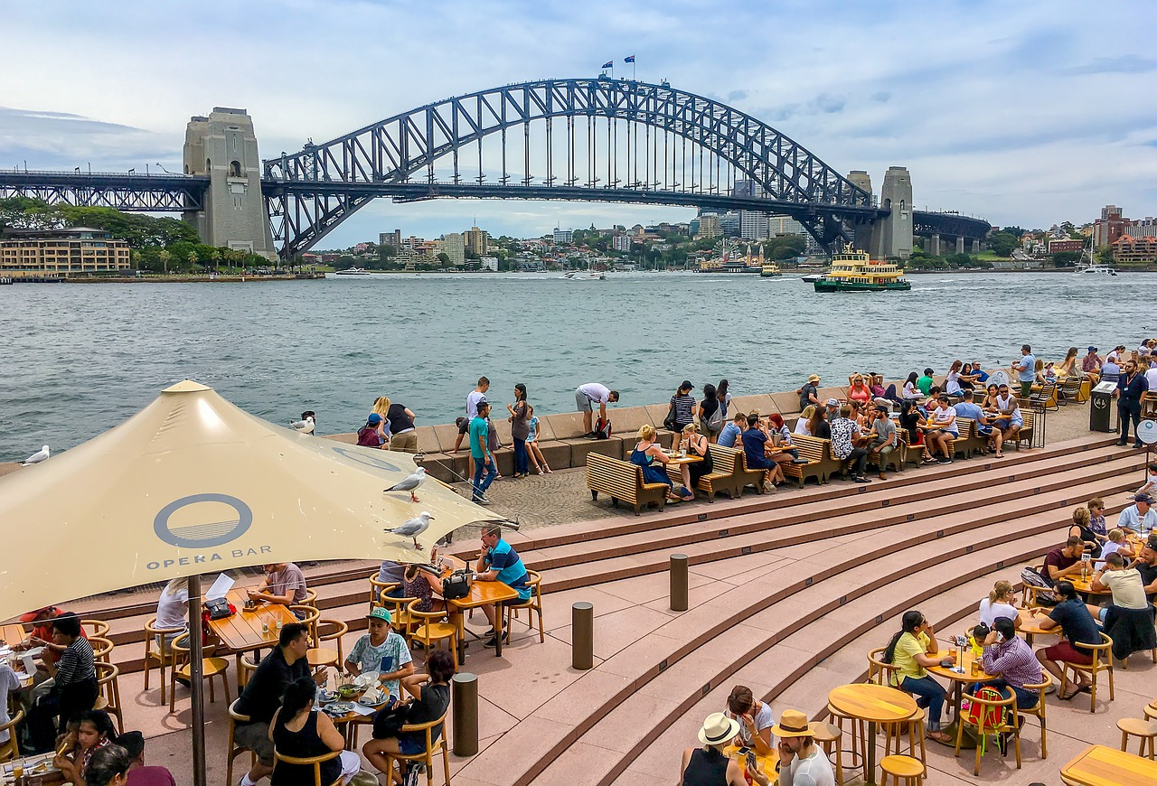 People eating in Sydney Harbour
