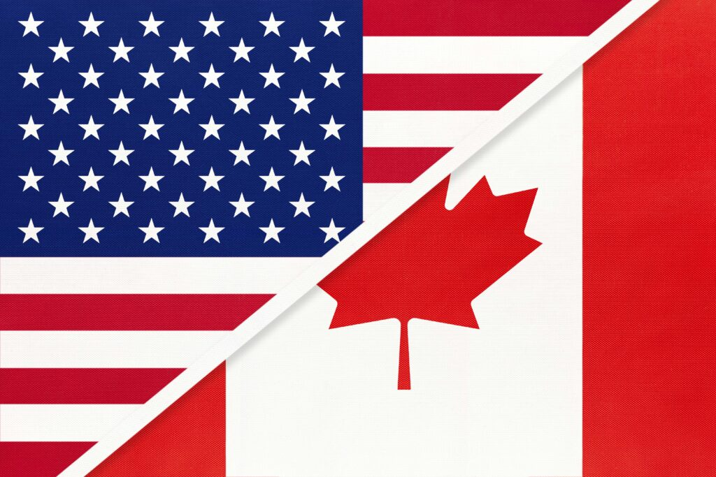 USA Vs Canada National Flag Relationship Two Countries